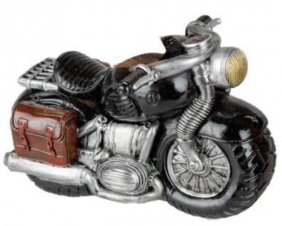 Sparschwein-Motorrad Sparbüchse Spardose schwarz silber 15 cm