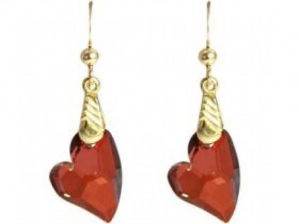 Ohrringe Vergoldet Herz Rot MADE WITH SWAROVSKI ELEMENTS® 3, 5 cm