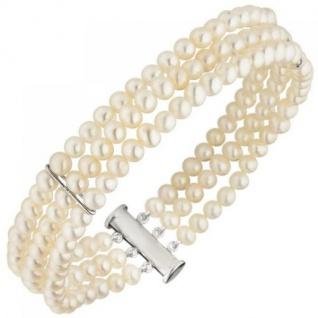 Armband 3-reihig Süßwasser Perlen und 925 Sterling Silber 20 cm