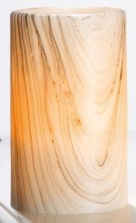 GILDE Echtwachs LED Kerze im Holzstil, 10 x 7 cm