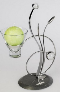 Metall Teelichthalter Kreis in Silber, ein flammig, 28 cm