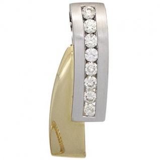 Anhänger 585 Weiß- Gelbgold teilmattiert 8 Diamanten Brillanten