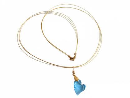 Herz Halskette Anhänger Vergoldet Blau WITH SWAROVSKI ELEMENTS®