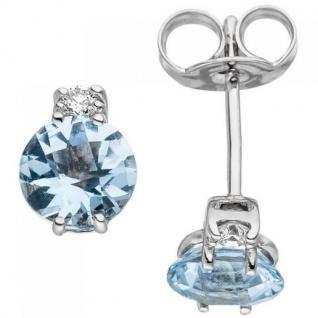 Ohrstecker 585 Weißgold 2 Diamanten Brillanten 2 Aquamarine hellblau