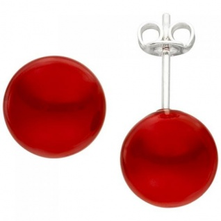 Ohrstecker 925 Sterling Silber 2 Muschelkern Perlen rot 10 mm
