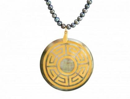 Halskette Medaillon Perlen Perlmutt Vergoldet Bronze Grau Tahiti