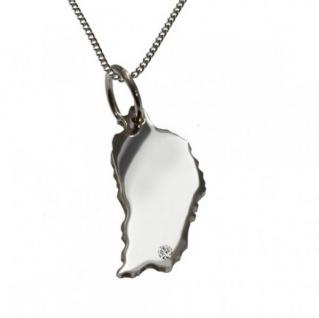 DOMINIKA Anhänger 925 Silber mit Brillant am Wunschort mit Halskette