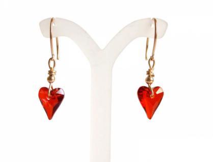Herz Ohrringe Vergoldet Rot MADE WITH SWAROVSKI ELEMENTS® 2 cm