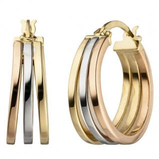 Creolen 585 Gold tricolor dreifarbig Ohrringe