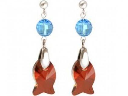 Ohrringe 925 Silber Fisch Rot Blau MADE WITH SWAROVSKI ELEMENTS®