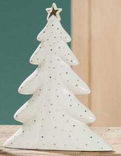 Gilde Tannenbaum aus Keramik in Weiß, goldene Punkte 21 cm