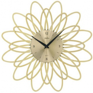 AMS 9361 Wanduhr Quarz analog golden modern florales Design