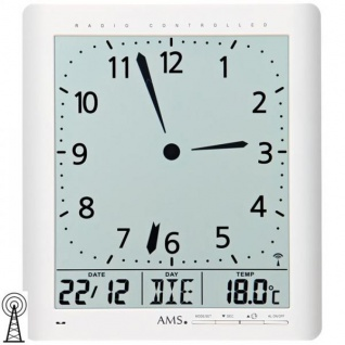 AMS 5896 Wanduhr Tischuhr Funk digital weiß Datum Thermometer