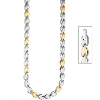 Collier / Halskette aus Edelstahl gold farben beschichtet bicolor 45 cm