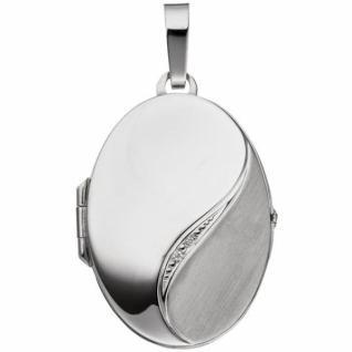 Medaillon oval 585 Weißgold mattiert 2 Diamanten Anhänger zum Öffnen