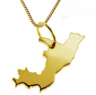 KONGO Kettenanhänger aus massiv 585 Gelbgold mit Halskette
