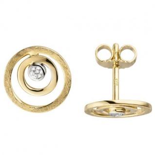 Ohrstecker 585 Gold Gelbgold eismatt 2 Diamanten Brillanten 10, 3 mm Ohrringe
