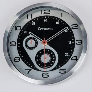 Moderne Wanduhr Glas Design rund in Schwarz Silber 33 cm