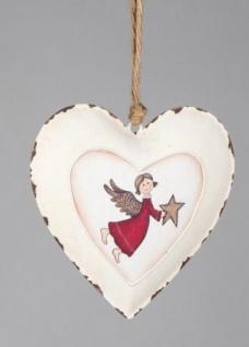 formano Dekohänger Herz mit Engel aus Metall in Rot Creme, 16 cm
