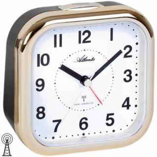 Atlanta 1829/9 Wecker Funk analog schwarz golden mit Licht Snooze