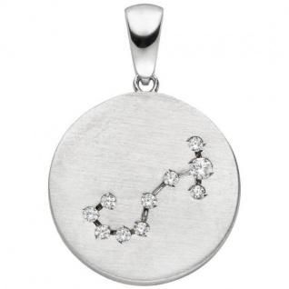 Anhänger Sternzeichen Skorpion 925 Sterling Silber matt 10 Zirkonia