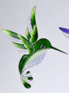 Fensterschmuck Eisvogel Tiffanyglas in Grün, 32 cm