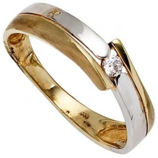 Damen Ring 333 Gelbgold Weißgold teil matt 1 Zirkonia Goldring