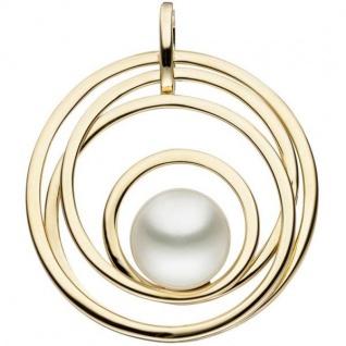 Anhänger rund 585 Gold Gelbgold 1 Süßwasser Perle Perlen Anhänger