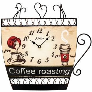AMS 9533 Küchenuhr Wanduhr Quarz analog braun Kaffeetasse Kaffee