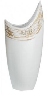 Moderne Halbmond Vase aus Keramik mit Reliefierung, 10 x 8 x 12 cm