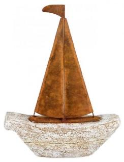 Dekofigur Deko Boot aus Kunststein und Metall grau rost 18 x 23 cm