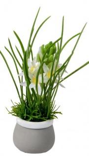 Künstlich blühende Hyazinthen im Topf grün weiß 20 cm