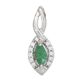Anhänger 333 Weißgold 1 Smaragd grün 10 Diamanten Brillanten