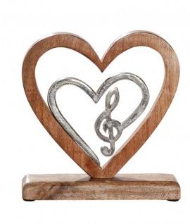 modernes Wohnaccessoire Notenschlüssel in Herz Wohndeko Zimmerdeko Dekoration-Note antik silber aus Alu und Mango-Holz 21x5x20cm groß
