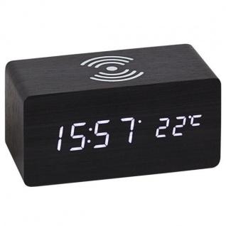 Atlanta 1129/7 Tischwecker WIRELESS CHARGING schwarz digital Temperatur