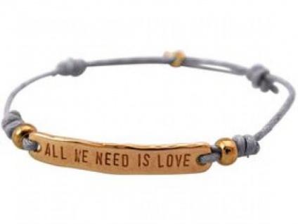 Armband Gravur ALL WE NEED IS LOVE Rose Vergoldet Hellgrau