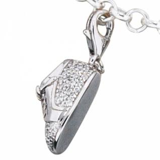 Einhänger Charm Babyschuh 925 Sterling Silber rhodiniert mit Zirkonia - Vorschau 2