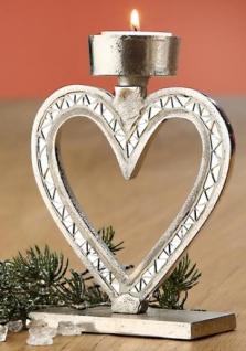 GILDE Kerzenhalter Herz aus Aluminium mit Spiegelmosaik, 17 cm