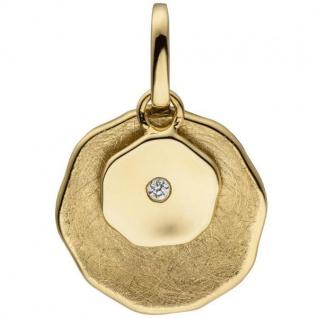 Anhänger 585 Gelbgold eismatt mit 1 Diamant Brillant