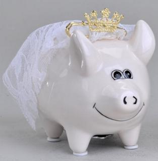 formano Spardose Sparschwein Braut aus Keramik in Weiß, 11 cm