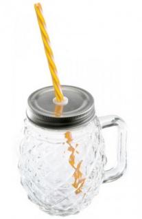 DIO Partyglas mit Aludeckel, Henkel und Strohhalm, 13 x 12, 5 cm