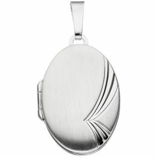 Medaillon oval für 2 Fotos 925 Sterling Silber mattiert zum Öffnen