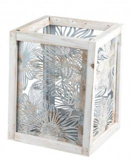 Windlicht mit Metallblumen-Motiv vintage Kerzenhalter Holzwindlicht für Tisch-Deko Deko-Laterne retro grau creme braun 20x28cm groß