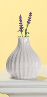 GILDE Moderne Keramik Vase weiß glasiert, 11 cm