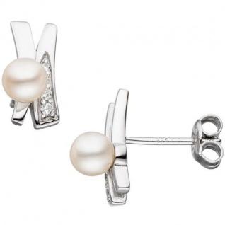 Ohrstecker 925 Sterling Silber 2 Süßwasser Perlen 8 Zirkonia Ohrringe - Vorschau