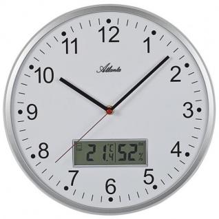 Atlanta 4503/19 Wanduhr Quarz analog silbern mit Thermometer Hygrometer
