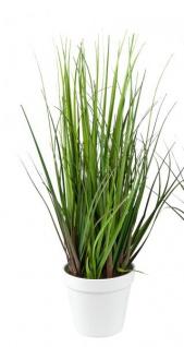 Künstliches Ziergras Kunstgras in weißem Topf Deko-Pflanze naturgetreue Kunst-Pflanze Grasbusch Grünpflanze Ufergras grün 60cm hoch