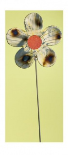 GILDE Gartenstecker Blume aus Metall und rotem Glas, 24 x 98 cm