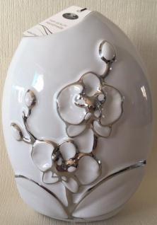 GILDE Deko Vase weiß mit silberner Blumenmusterung, 8 x 16 x 19 cm