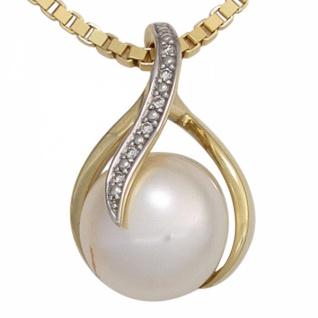 Anhänger 585 Gelbgold 1 Süßwasser Perle 6 Diamanten Brillanten